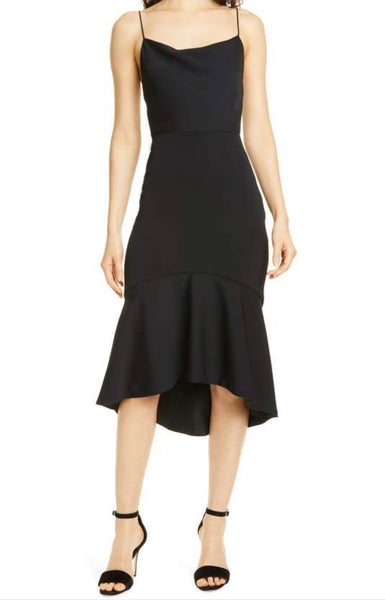 Alice + Olivia Adrina Cowl neck midi dress - black