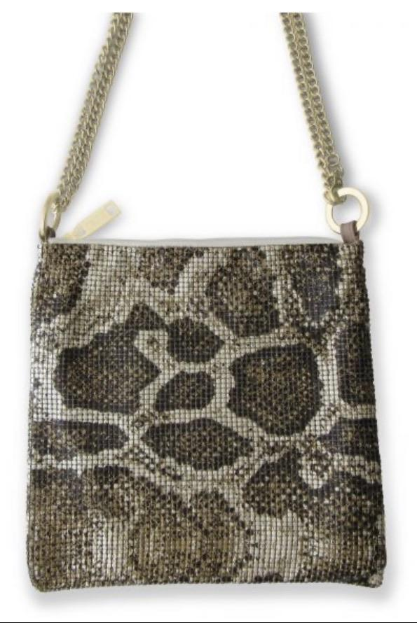 Whiting & Davis brown pearl python convertible crossbody