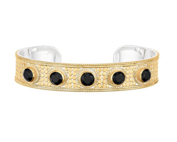 Anna Beck Gold Plated Black Onyx Cushion Cuff
