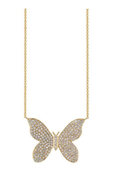 Sydney Evan large butterfly pave diamond necklace YG