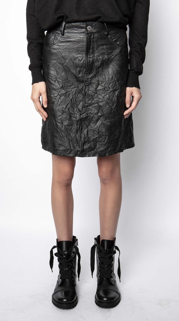 Zadig & Voltaire Juicer Leather Crinkle Skirt - noir