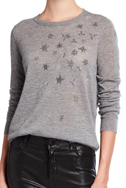 Zadig & Voltaire Miss CP Stars Strass- Gris Chine cashmere sweater