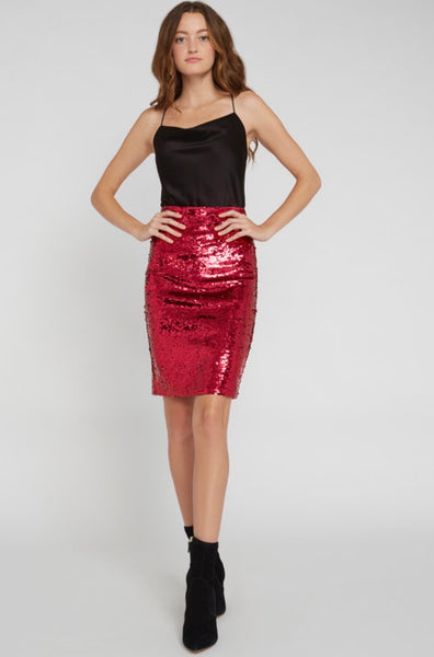 Alice + Olivia Ramos bright pink sequin fitted midi skirt