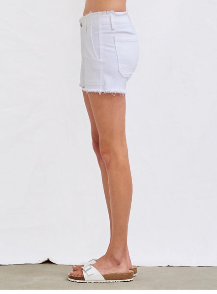 Sundry raw edge shorts- optic white