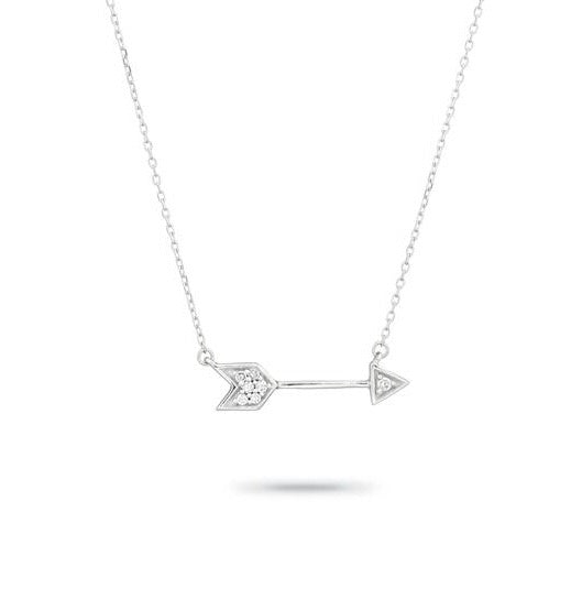 Adina Reyter Tiny Pave' arrow sterling silver necklace