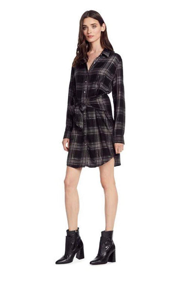 Michael stars black/cinder tie waist shirt dress