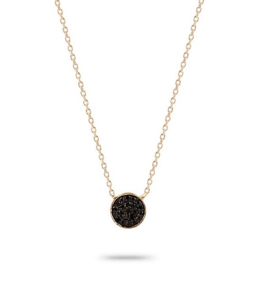 Adina Reyter pave black disk 14k necklace