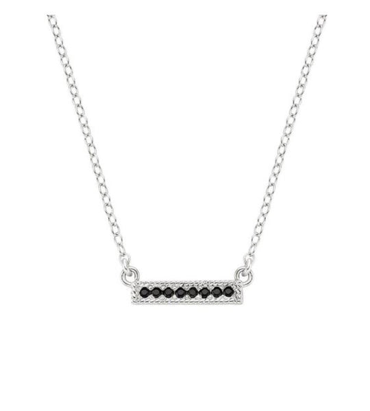 Anna Beck Black Onyx Pave mini Bar Necklace 16-18