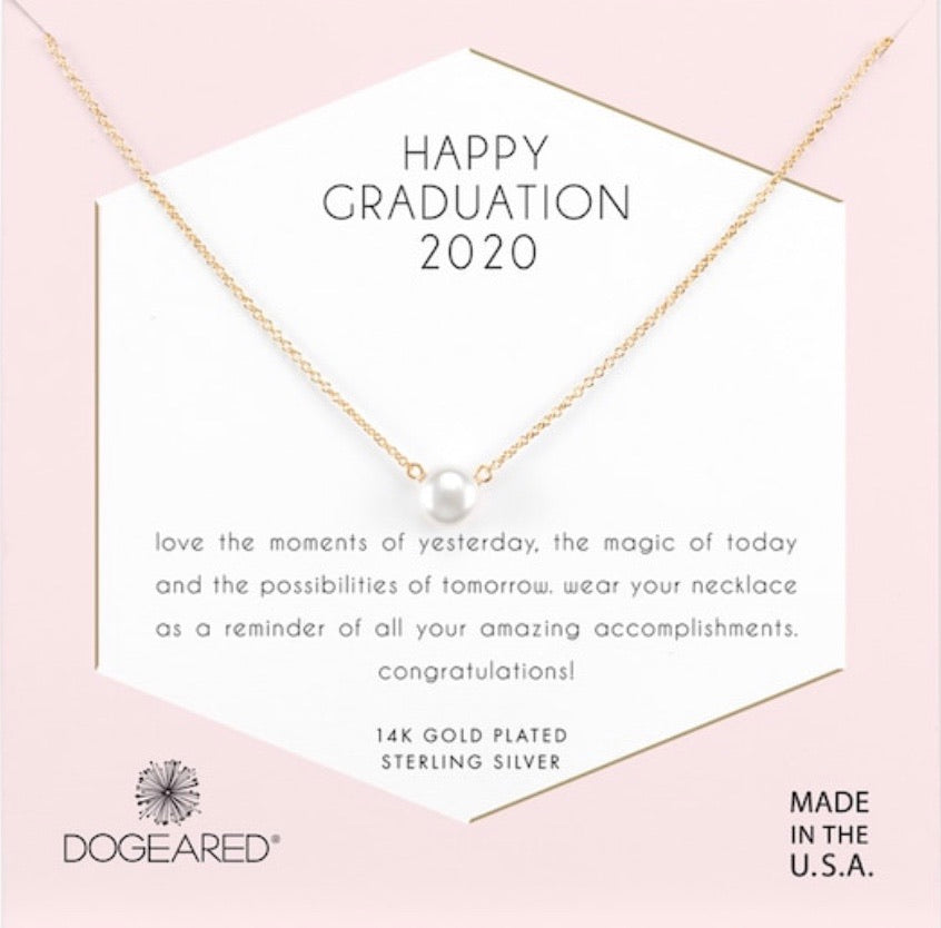 Dogeared Happy Graduation 2020 small gold pearl necklace