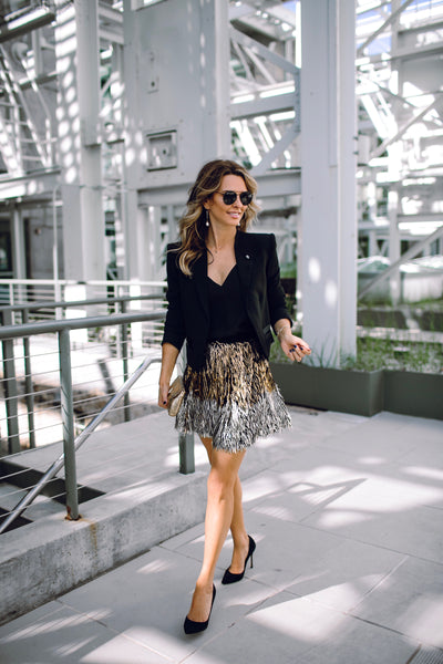 Alice and Olivia black gold ombré skirt