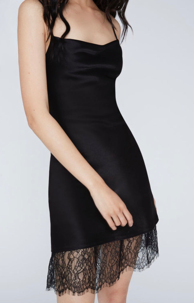Alice+Olivia Harmony lace mini slip dress - black