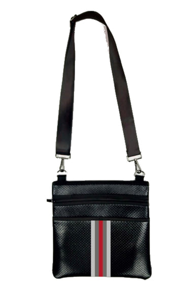 Haute Shore Peyton Sharp- black coated multi stripe crossbody purse