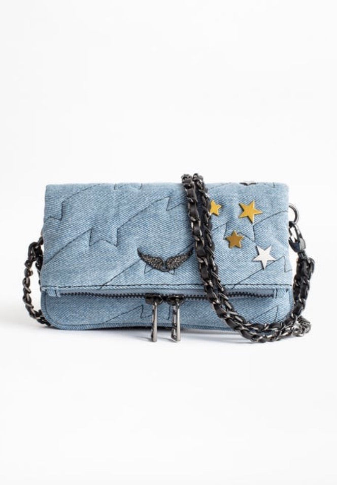 Zadig & Voltaire rock nano quilted jeans purse