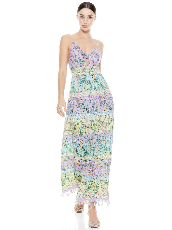 Alice & Olivia KAROLINA TIE FRONT MAXI DRESS