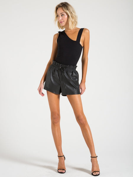 N Philanthropy Emma vegan leather black cat shorts