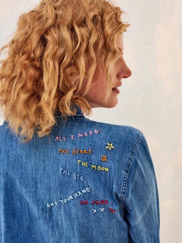 Sundry rainbow embroidered button up jean shirt