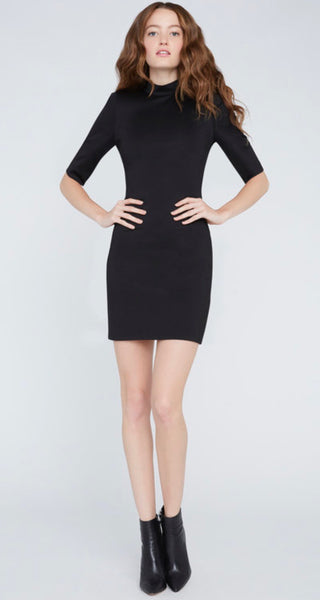 Alice +Olivia Inka strong shoulder mock dress- black