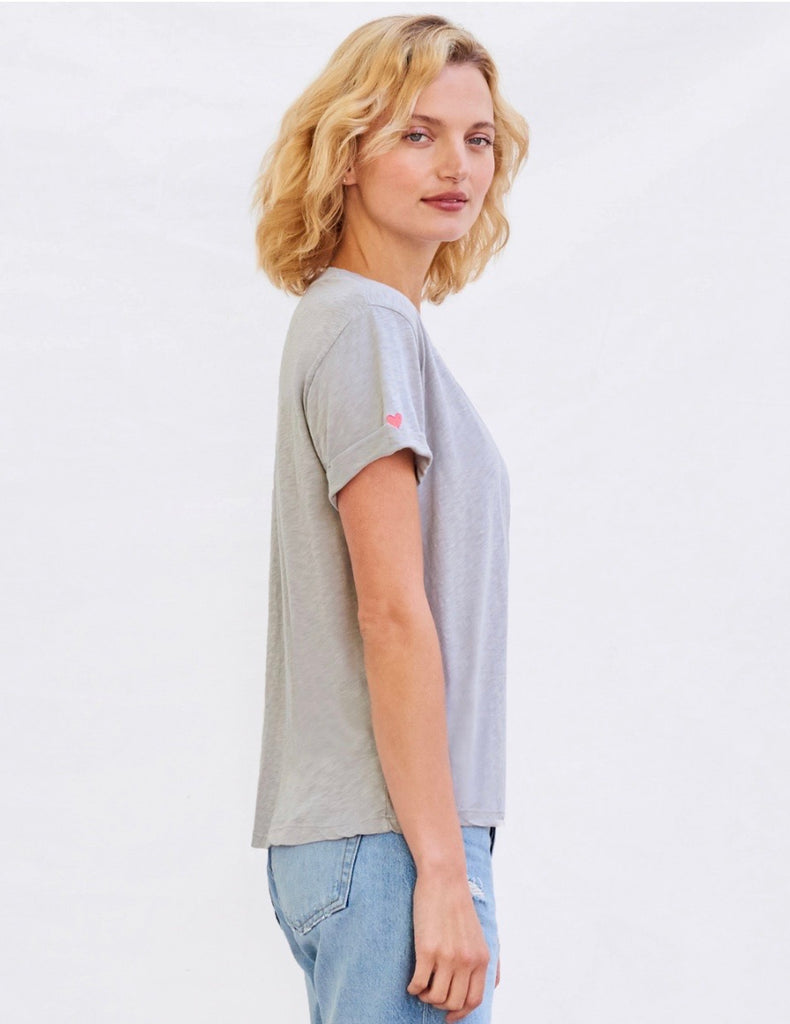 Sundry Star & Heart rolled tee- dusk