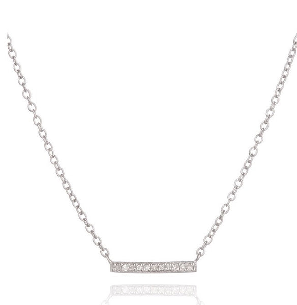 Adina Reyter silver pave bar necklace