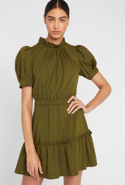 Alice + Olivia Vida sleeve tiered ruffle dress - Olive