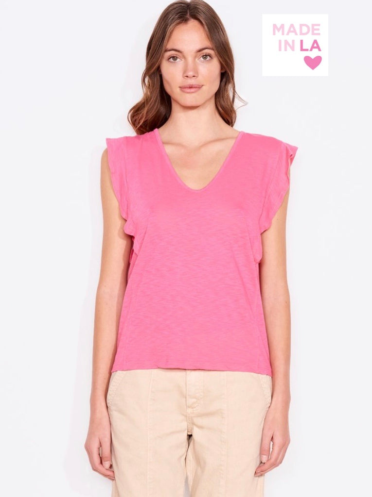 Sundry U neck flutter sleeve top- Fuchsia