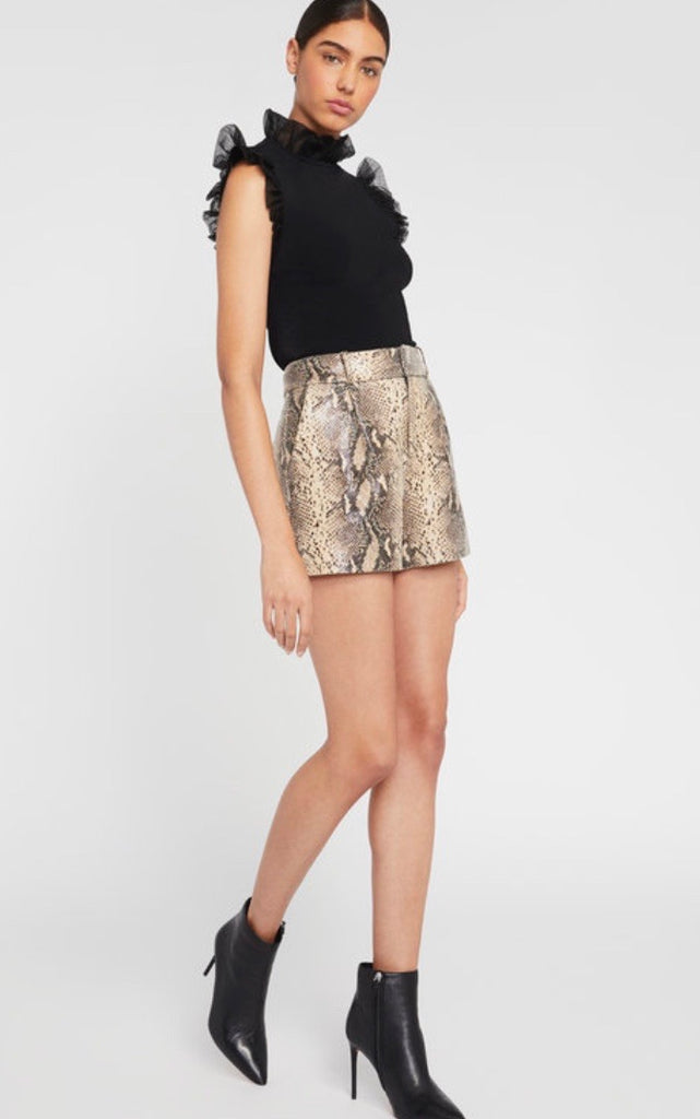 Alice & Olivia dale leather pleated short- snake print