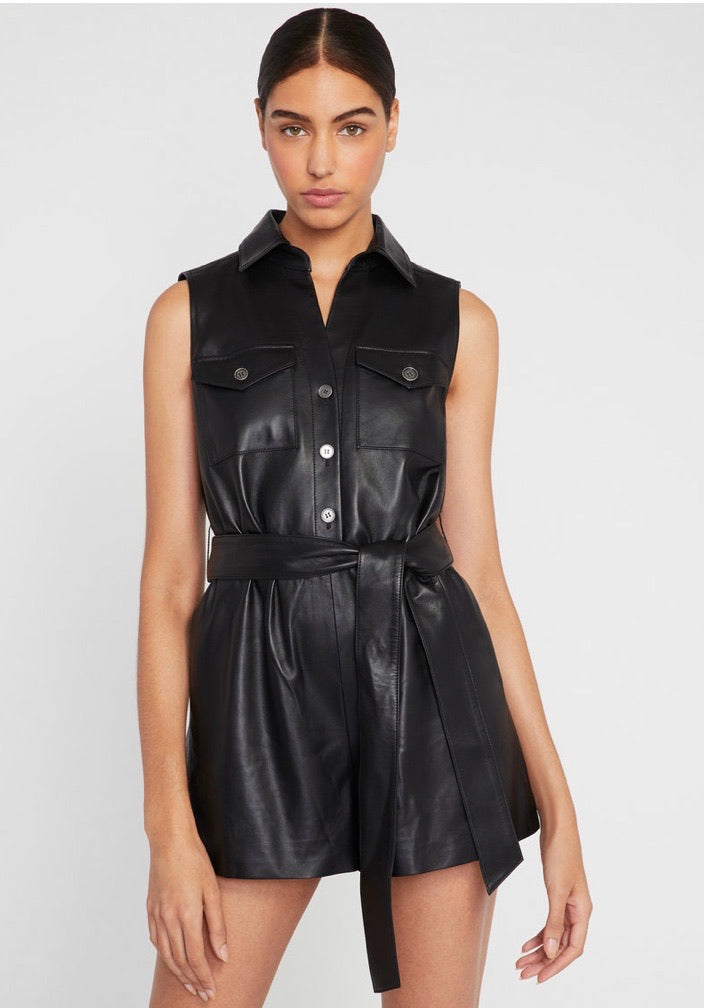 Alice & Olivia Dallas leather romper - black