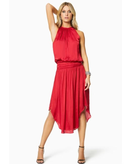 Ramy Brook Shiny Audrey Dress - true red