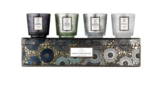 voluspa pedestal candle gift set- cool tones