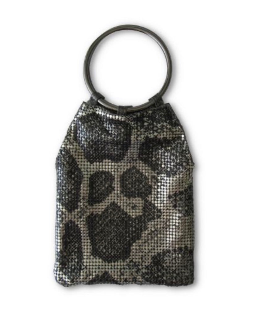 Whiting & davis black pewter python bracelet pouch