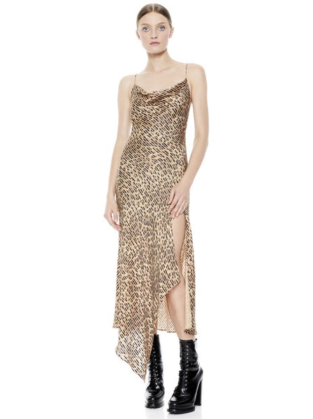 Alice & Olivia Harmony asymmetrical spotted leopard slip dress