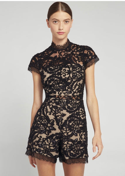 Alice + Olivia Alaina mock neck black lace romper