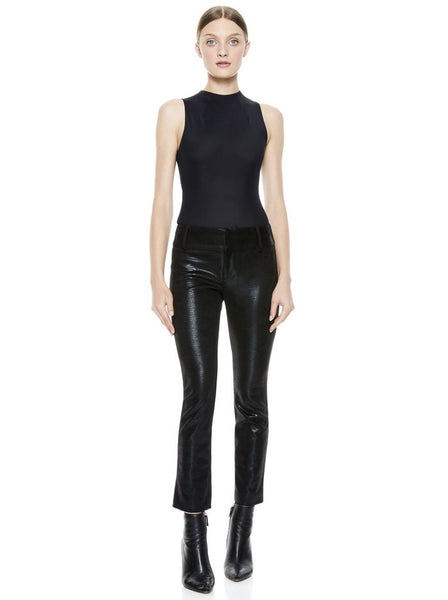 Alice & Olivia Stacy Vegan black leather ankle pants