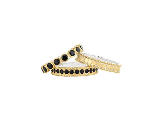 Anna Beck Black Onyx set of 3 Stacking Rings -Gold plated