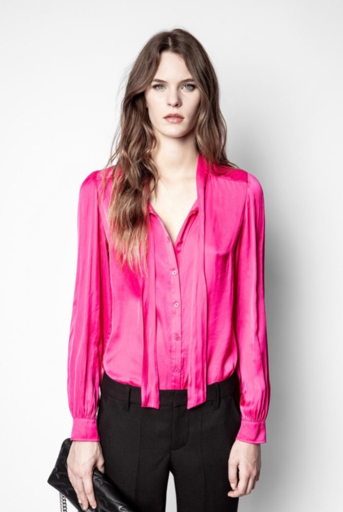 Zadig & Voltaire Taos Satin Shirt - pink party