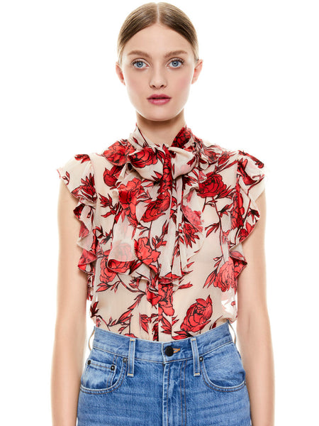 Alice +Olivia Robbie bow collar blouse