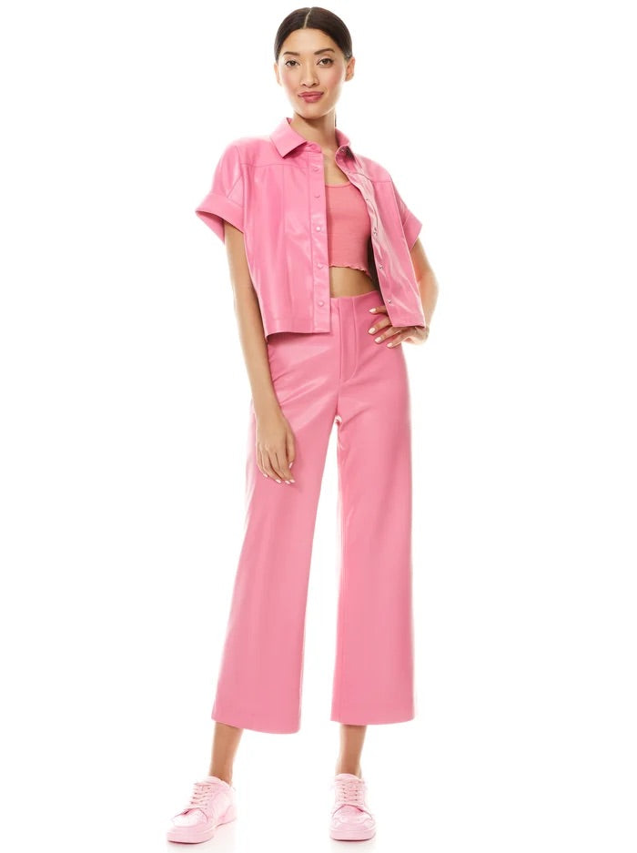 Alice & Olivia Edyth Vegan leather button down- calypso pink