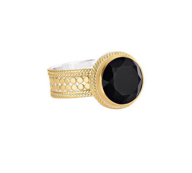 Anna Beck Black Onyx Circle RIng-Gold
