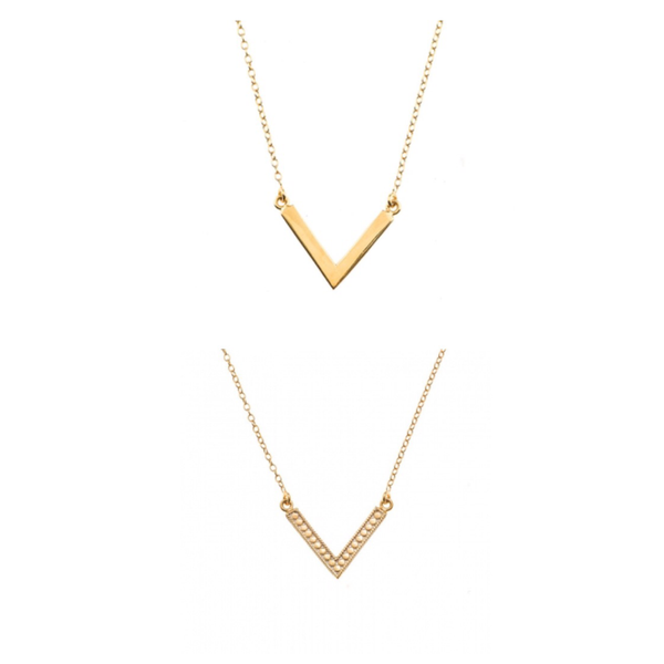 Anna Beck V Necklace Double Sided Gold