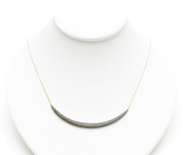 Rona Pfeiffer 14K Crescent Pave Necklace