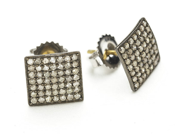 Rona Pfeiffer Pave Square Earrings - Large