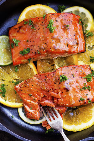 Citrus Glazed Salmon served with Rice Pilaf & Roasted Asparagus