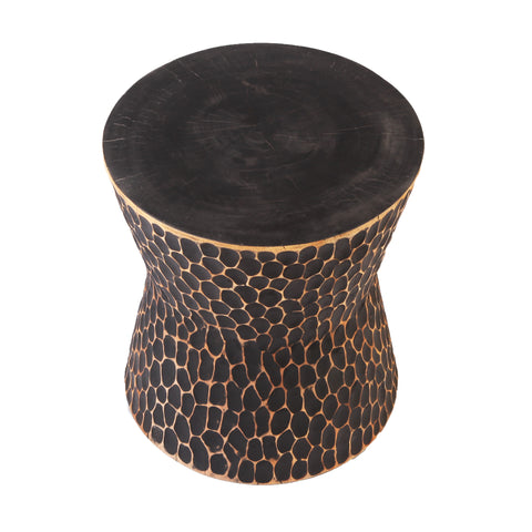 Black Chiseled Accent or Side Table - Dyag East