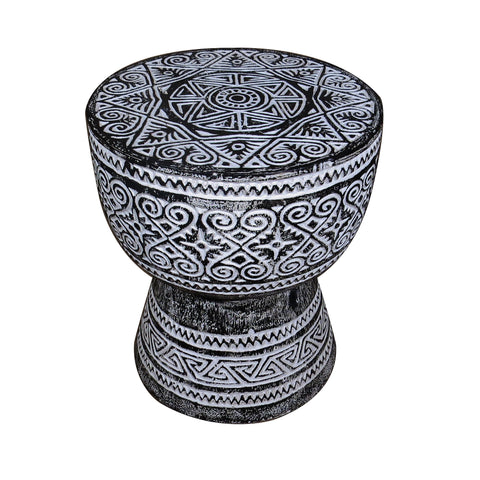Black Balinese Drum Accent or Side Table - Dyag East