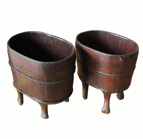 Z-Antique Chinese Wood Buckets - Dyag East