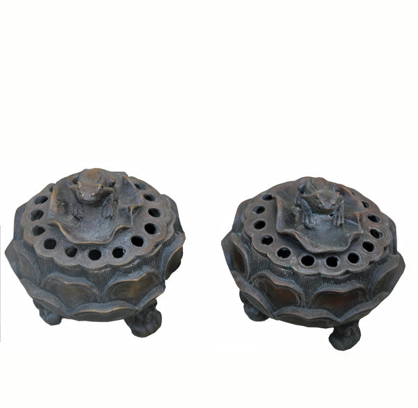 Pair of Incense Burner with Carved Frog Lid - Dyag East