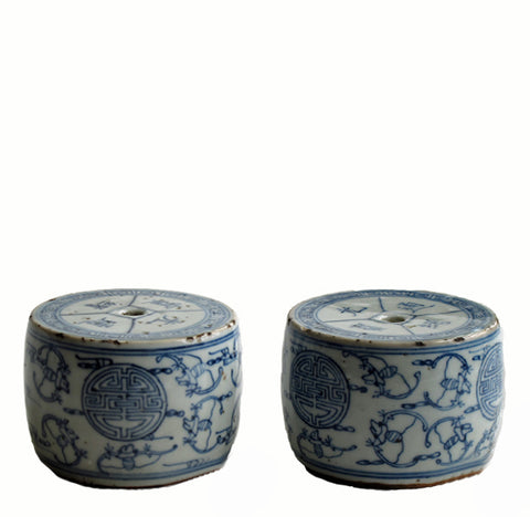 A Pair of Vintage Blue & White Candleholder 1 - Dyag East