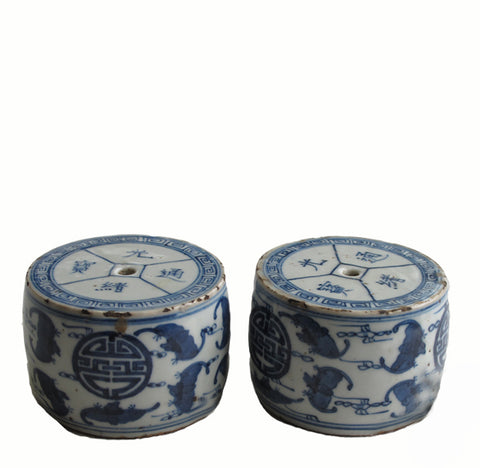 A Pair of Vintage Blue & White Candleholder 2 - Dyag East