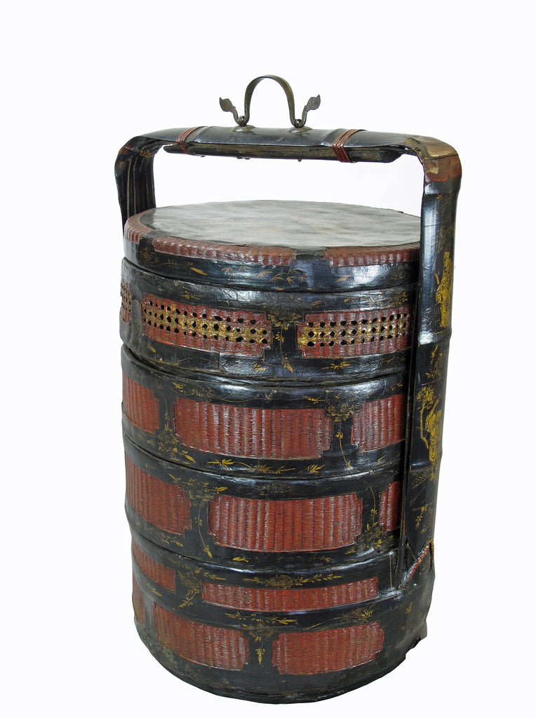 Bamboo Food Basket with Hand Painted Handle - Dyag East