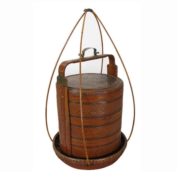 Antique Chinese Bamboo Food Box w Basket - Dyag East